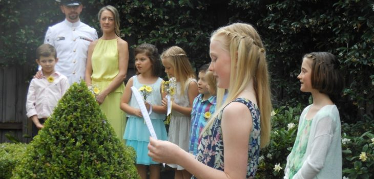 wedding ceremony children; children reading at wedding; weddings and children; garden wedding; home wedding; relaxed wedding; fun wedding; celebrant joy; Joyful Occasions Celebrant