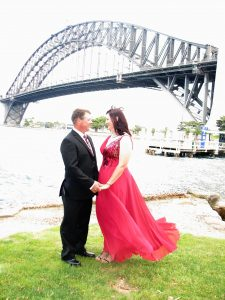 Sydney Harbour Bridge wedding; bride wore red; Sydney Harbour wedding location; Sydney wedding celebrant; marriage celebrant sydney; celebrant joy