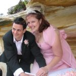 bride wore pink; colourful bride; beach wedding; Sydney wedding celebrant; celebrant joy;