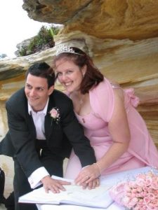 bride wore pink; colourful bride; beach wedding; Sydney wedding celebrant; celebrant joy;